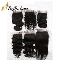 Bella Hair® al por menor Muestra encierro del pelo humano 8A 4 * 4 Recta onda del cuerpo flojo profundamente rizado Agua Natural Wave Wave 8-26inch tapa del cordón Cierres