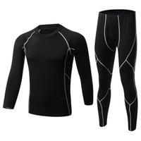 Nuevos sistemas de ropa interior térmica para hombres de invierno Fleece Warm Long Johns Ropa interior térmica transpirable Pantalones de traje y pantalón de secado rápido