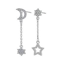 EH116 Lua e Brincos Estrela Estilo Longo Brincos De Cristal Coreano com 100 Conjuntos de Brincos Oendant Stud Feminino Hipster