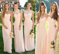 Rosa de la Armada a largo vestido de dama de honor 2020 gasa del verano de flujo mixto escote Blush dama de honor formal Prom Vestidos con volantes HY171