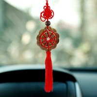 Feng Shui Fortune Coin Tassel RED Hanging paix noeud chinois voiture Décoration