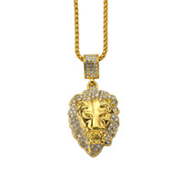 Fashion Men Lion Head Animal Pendant Necklace Full Crystal D...
