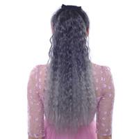 Rabos de cavalo ondulados profundos das mulheres 24inch tie-in ombre cor cinza cabelo azul