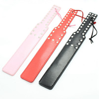 Slave BDSM Rectangle Leather Spank Paddle Beat With Rivet Su...
