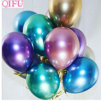 QIFU 10 stücke Metallic Ballon Hochzeit Ballons Alles Gute Zum Geburtstag Ballon Latex Metall Chrom Ballons Air Balon Helium Ballon Nummer