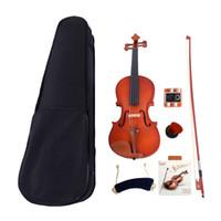 악기 4/4 어쿠스틱 매트 바이올린 케이스 인 로진 스트링 숄더 레스트 튜너 11 세 이상 자연