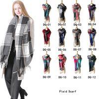 12 Renkler Kadınlar sahte yün eşarp örgü püskül wrap boy ekose şal eşarp kış battaniye moda Atkılar ve Wraps GGA825