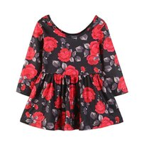 Baby Girl Dress 2018 Autumn Girls O- Neck Cotton Red Rose Flo...