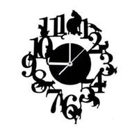 أفضل القط الأسود ساعة الحائط هوك العتيقة ساعة الحائط داخلي الاسكندنافية لطيف القط (أسود)