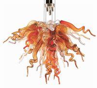 Lâmpadas pendentes âmbar mão soprada lustres de vidro moderno forma de flor cristal candelabro luzes de teto contemporâneo iluminação interna