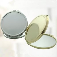 Espejo de bolsillo plegable redondo compacto Espejos de maquillaje de oro de plata de doble cara envío rápido F1019