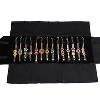 Portamonete portatile con display per gioielli di nuovo arrivo Custodia nera da viaggio porta rotolo da viaggio in velluto nero comoda per espositore 16