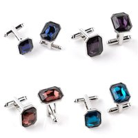 Crystal Cufflinks Cuff Links sleeve button for women men shi...