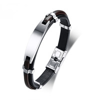 Stylish Mens ID Bracelet Stainless Steel Black Genuine Leath...