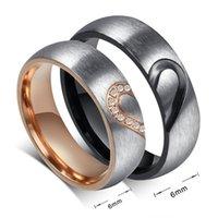 Zhf jóias anel anel amor coração casamento promessa anéis conjunto de aço inoxidável casais de noivado bandas para homens e mulher
