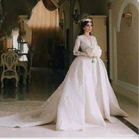 Sexy V Neck Long Sleeves Wedding Dresses Ball Gown Appliqued...