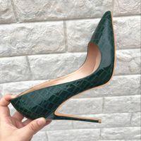 Черноватый green12cm сверхтонкий с верхней зеленой змеей печати на высоком каблуке женщин 2018 новая мода свадебное платье сексуальная обувь размер 43