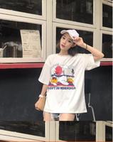 2018 femmes d'été nouvelle Corée ulzzang Harajuku BF vent personnalité imprimer lâche t-shirt à manches courtes étudiant 009