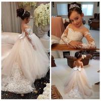 Ucuz Sevimli Sheer Kollu Çiçek Kız Elbise Aplikler Dantel Tül Vintage Çocuk Pageant Törenlerinde 2021 Prenses Örgün Doğum Günü Partisi Giyim