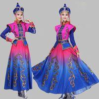 Alta calidad de la danza de Mongolia Traje de la etapa de rendimiento de la ropa femenina vestido largo Minoridad de la danza folclórica Ropa de princesa de carnaval de prendas de vestir