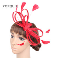 New Arrival. Ladies Hair fascinators wedding hats headbands navy white blue  headwear with feather black hair accessories women hot ... 80adc66200b7