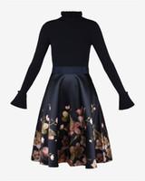 2018 جديد الخريف الشتاء النساء اللباس ريترو سليم كان رقيقة مطبوعة اللباس فستان بأكمام طويلة شيونغسام الإناث NB-142