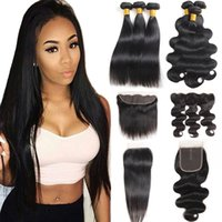 10A Grade Straight Brazilian Human Hair Bundles with Closure...
