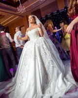 2018 luxe arabe princesse robe de balle robe de mariée de la Chine hors de lace d'épaule applique vintage plus taille mariage robe de mariée arrière
