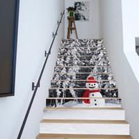 13pcs DIY 3D del muñeco de nieve pegatinas Escaleras extraíble impermeable del papel pintado etiquetas autoadhesivas pasos del peldaño de escalera