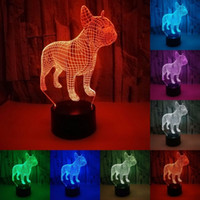 French Bulldog 3D LED Night Lamp 7 Colors USB Hologram Decor...