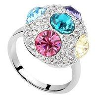 Австрия Кристалл от Swarovski Elements Wedding Engagement Rings женщина палец ювелирных изделий Полный Rhinestone Ювелирная Белый Позолоченные 6880