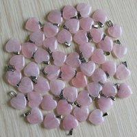 Encantos Moda de piedra natural de cuarzo rosa Amor forma de corazón cuentas de piedra rosa Colgantes 20mm para la joyería que hace el colgante Envío libre al por mayor