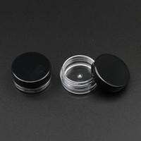 100pcs base rotonda 2g Gram trasparente Crema vaso con il coperchio nero 2ml vaso di plastica trasparente vuoto contenitori cosmetici Mini Packaging