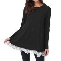 2017 Otoño Blusas de Las Mujeres Camisas Largas Ocasionales de Encaje Suelto Crochet Hem Patchwork Blusas O Cuello de Manga Larga Tops Venta Caliente