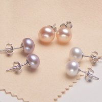 6~9. 5mm Freshwater Pearl 925 Sterling Silver Earrings Design...