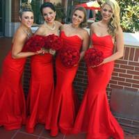 Stain Simple Rouge Pas Cher Robes Bridemaid Sexy Sweetheart Sirène De Mariage Invités Robes Sur Mesure Formé Party Robes Plus La Taille