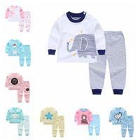 6 Ensembles Baby Pajamas Ensembles Coton Impression Vêtements De Sleep Heads Suit Enfant T-shirt T-shirt à manches longues à manches longues + Pantalons Vêtements nouveau-nés Q01