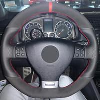 أسود الجلد المدبوغ جلد طبيعي ديي تغطية عجلة القيادة سيارة ل volkswagen golf 5 mk5 gti vw golf 5 r32 باسات r GT 2005