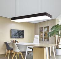 Современный светодиодный потолочный светильник подвесной светильник осветительный светильник прямоугольник офисный спальня поверхность горе гостиная панель дистанционного управления лампами 110V 220V