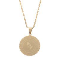 Roestvrij staal Bijbel vers gebed sieraden goud kleur bidden handen sieraden munt medaille christelijke heer's gebed sieraden