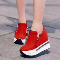 Damenmode-Wedge Thick-soled Muffins Heighten Schuhe High Side Zipper Segeltuchschuhe Creepers Schuhe