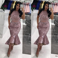 Sequined Two Pieces Dresses Evening Wear Jewel High Low Skir...