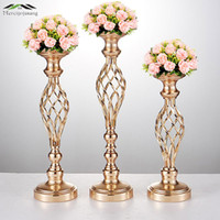 10pcs / LOT Flowers Vases Candle Holders Road Rid Table Centrerpie Metal Gold Stand Candlestick For Wedding Candelabra