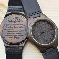 Engraved Wooden Watch for Wife Daughter Natural Ebony Wood W...