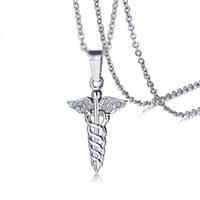 """CZ Kamienie Kaduceusz Wisiorek Dla Kobiet Naszyjnik Stainless Stabulation Medical Symbol Kobieta Casual Jewelry 20 """"Link Chain"""