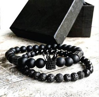 2pcs set Men Woman Bead Bracelet Crown Charm Bangle Natural Beads Buddha Bracelet for Women and Mens Pulseras Masculina