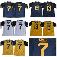 West Virginia Mountainers 7 Grier Jersey 13 David Sills V NCAA 대학 남성 축구 해군 파란색 노란색 흰색 스티치 XII 크기 S-3XL