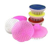 pink pet bath massage chien chat toilettage nettoyage fournitures de bain avec poignée de main petite brosse peigne rond Pet Supplies a825