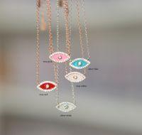 925 стерлингового серебра эмаль злого глаз ожерелье милая любовь девушка леди подарок ювелирные изделия изысканные серебряные турецкие счастливый символ украшения