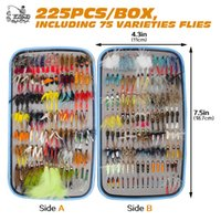 225pcs Wet Dry Fly Fishing Flies Lure Set Fly Tying Material...